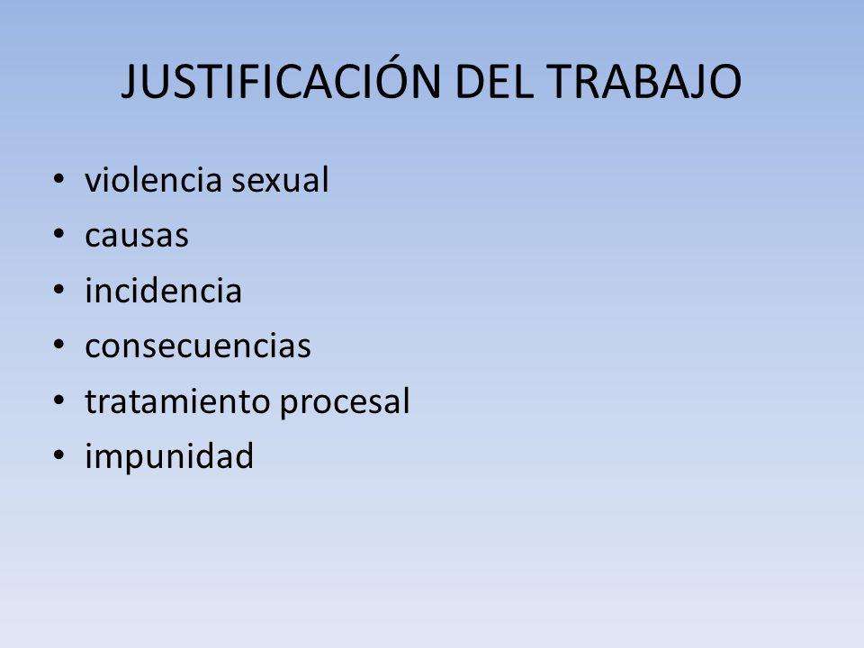 JUSTIFICACIÓN DEL TRABAJO violencia sexual causas incidencia consecuencias tratamiento procesal impunidad
