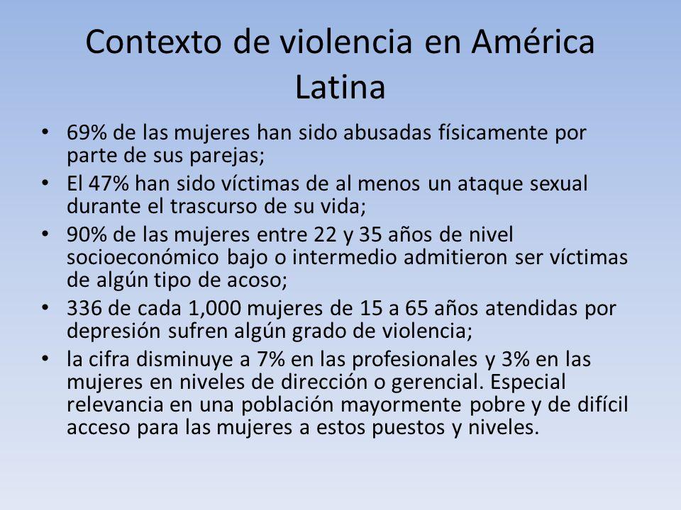 Contexto de violencia en América Latina 69% de las mujeres han sido abusadas físicamente por parte de sus parejas; El 47% han sido víctimas de al menos un ataque sexual durante el trascurso de su vida; 90% de las mujeres entre 22 y 35 años de nivel socioeconómico bajo o intermedio admitieron ser víctimas de algún tipo de acoso; 336 de cada 1,000 mujeres de 15 a 65 años atendidas por depresión sufren algún grado de violencia; la cifra disminuye a 7% en las profesionales y 3% en las mujeres en niveles de dirección o gerencial.
