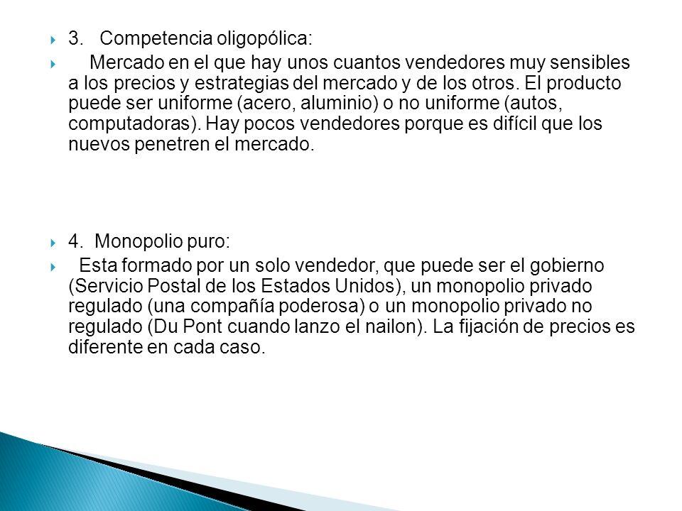 3. Competencia oligopólica: Mercado en el que hay unos cuantos vendedores muy sensibles a los precios y estrategias del mercado y de los otros. El pro