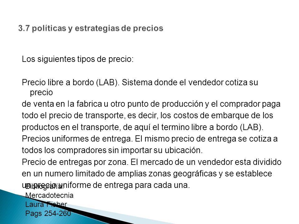 Los siguientes tipos de precio: Precio libre a bordo (LAB). Sistema donde el vendedor cotiza su precio de venta en Ia fabrica u otro punto de producci