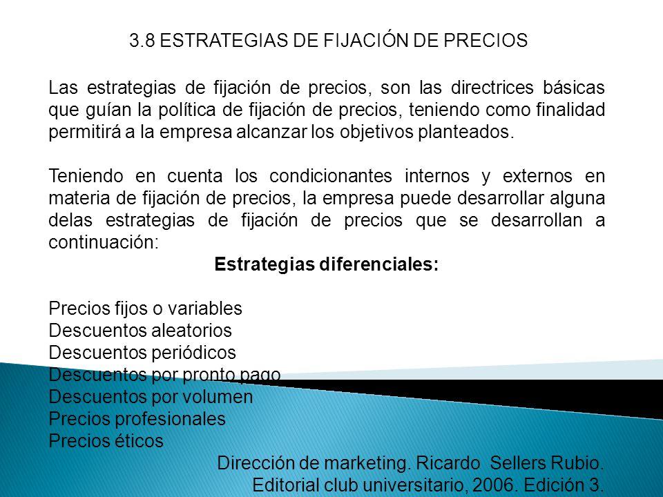 3.8 ESTRATEGIAS DE FIJACIÓN DE PRECIOS Las estrategias de fijación de precios, son las directrices básicas que guían la política de fijación de precio