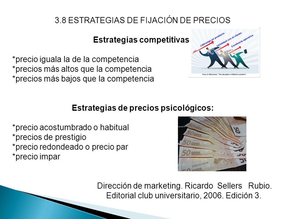 3.8 ESTRATEGIAS DE FIJACIÓN DE PRECIOS Estrategias competitivas: *precio iguala la de la competencia *precios más altos que la competencia *precios má