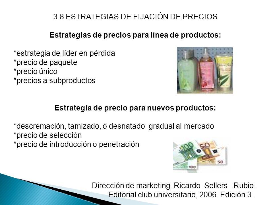 3.8 ESTRATEGIAS DE FIJACIÓN DE PRECIOS Estrategias de precios para línea de productos: *estrategia de líder en pérdida *precio de paquete *precio únic