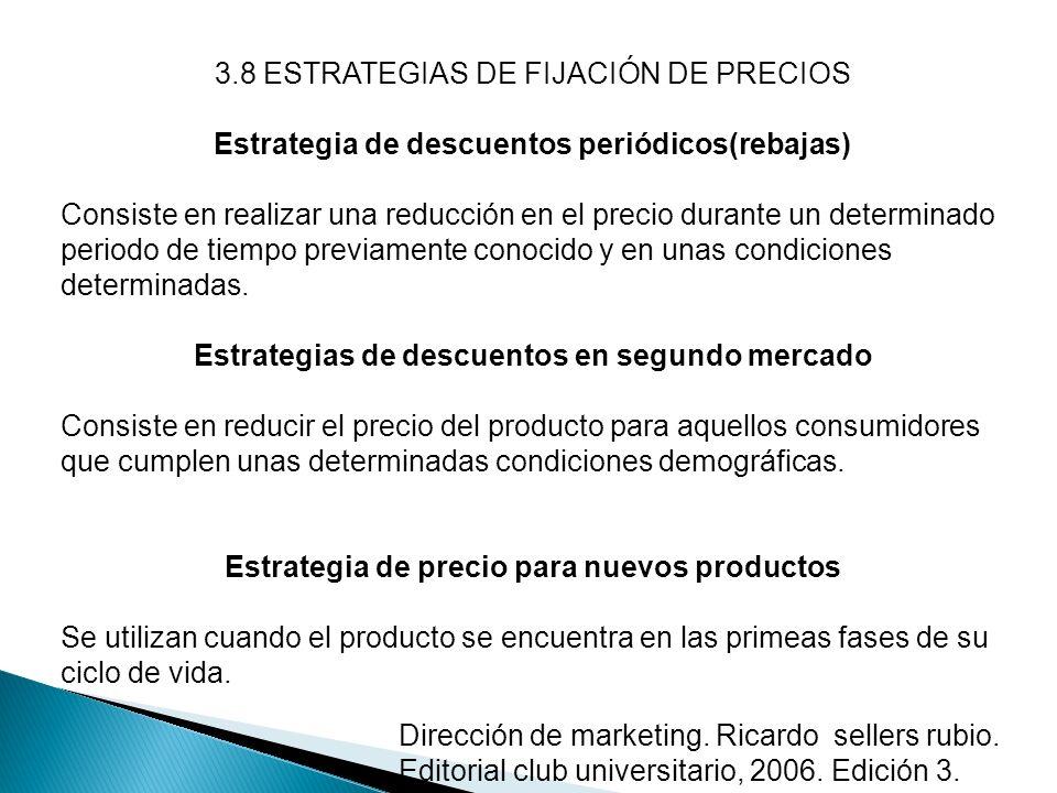 3.8 ESTRATEGIAS DE FIJACIÓN DE PRECIOS Estrategia de descuentos periódicos(rebajas) Consiste en realizar una reducción en el precio durante un determi