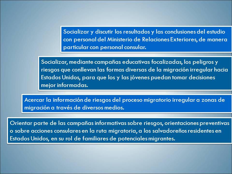 Socializar y discutir los resultados y las conclusiones del estudio con personal del Ministerio de Relaciones Exteriores, de manera particular con per