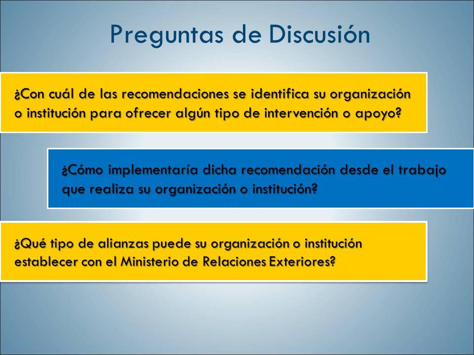 ¿Con cuál de las recomendaciones se identifica su organización o institución para ofrecer algún tipo de intervención o apoyo? ¿Cómo implementaría dich