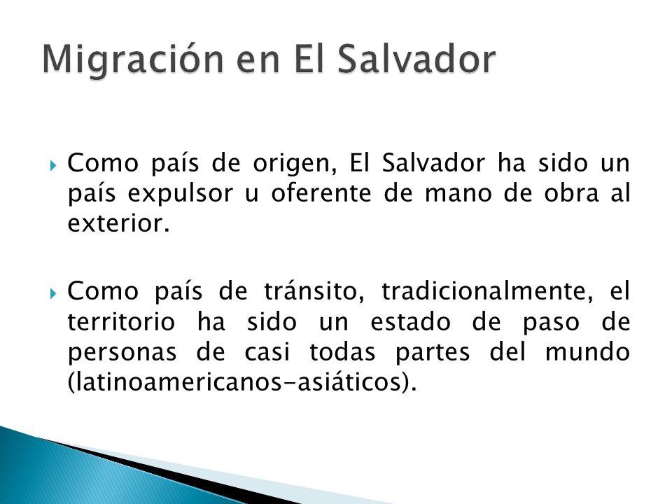 Como país de origen, El Salvador ha sido un país expulsor u oferente de mano de obra al exterior.
