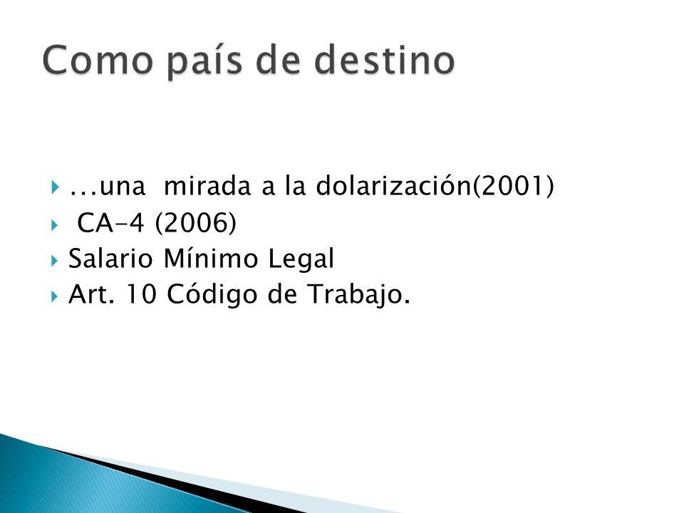 … una mirada a la dolarización(2001) CA-4 (2006) Salario Mínimo Legal Art. 10 Código de Trabajo.