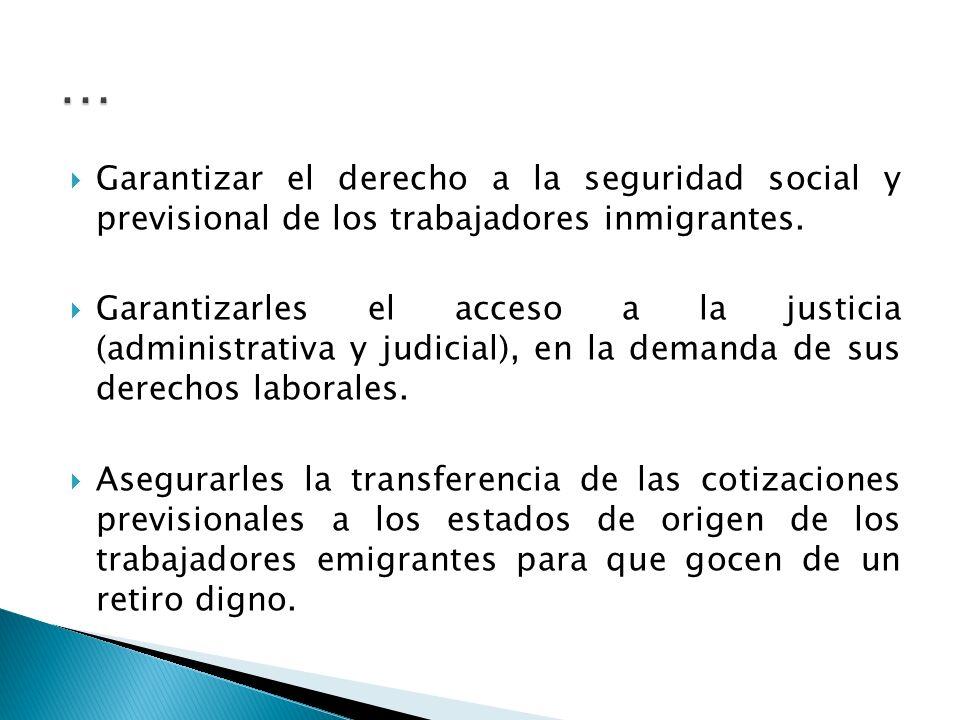 Garantizar el derecho a la seguridad social y previsional de los trabajadores inmigrantes.