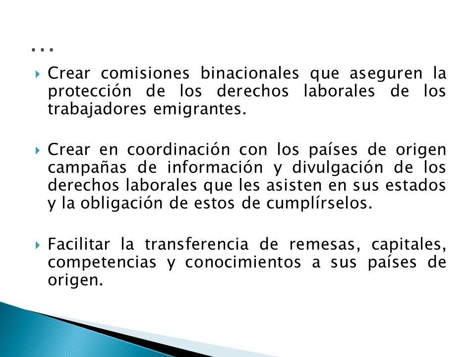 Crear comisiones binacionales que aseguren la protección de los derechos laborales de los trabajadores emigrantes.