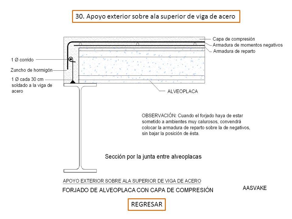 30. Apoyo exterior sobre ala superior de viga de acero REGRESAR