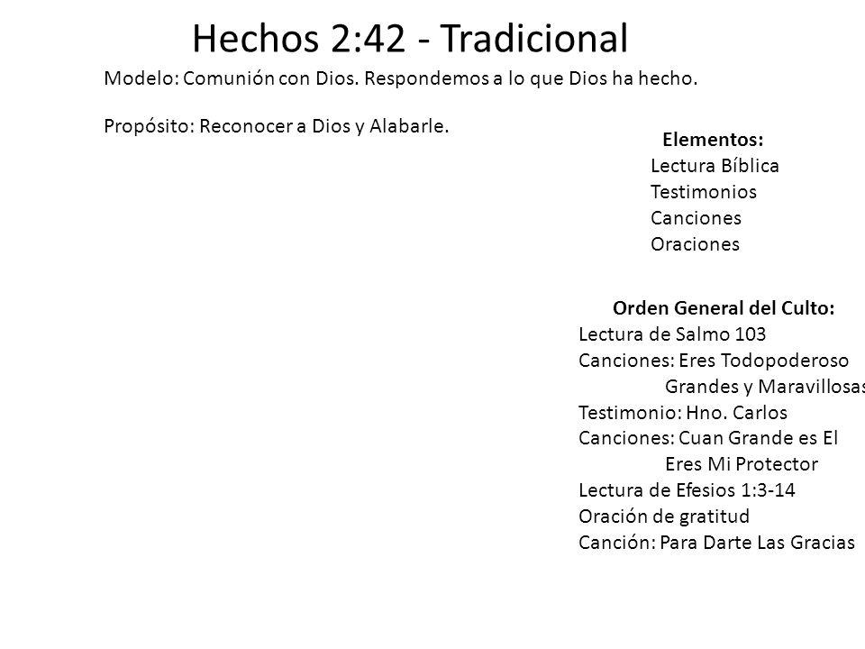 Hechos 2:42 - Tradicional Modelo: Comunión con Dios. Respondemos a lo que Dios ha hecho. Propósito: Reconocer a Dios y Alabarle. Elementos: Lectura Bí