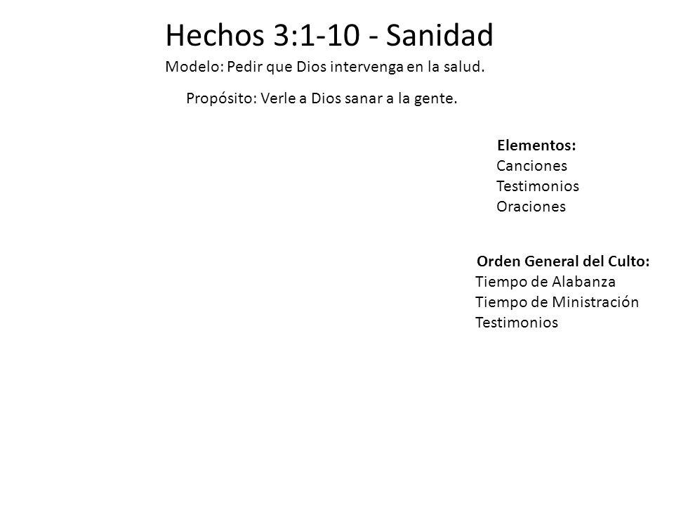Hechos 3:1-10 - Sanidad Modelo: Pedir que Dios intervenga en la salud. Propósito: Verle a Dios sanar a la gente. Elementos: Canciones Testimonios Orac
