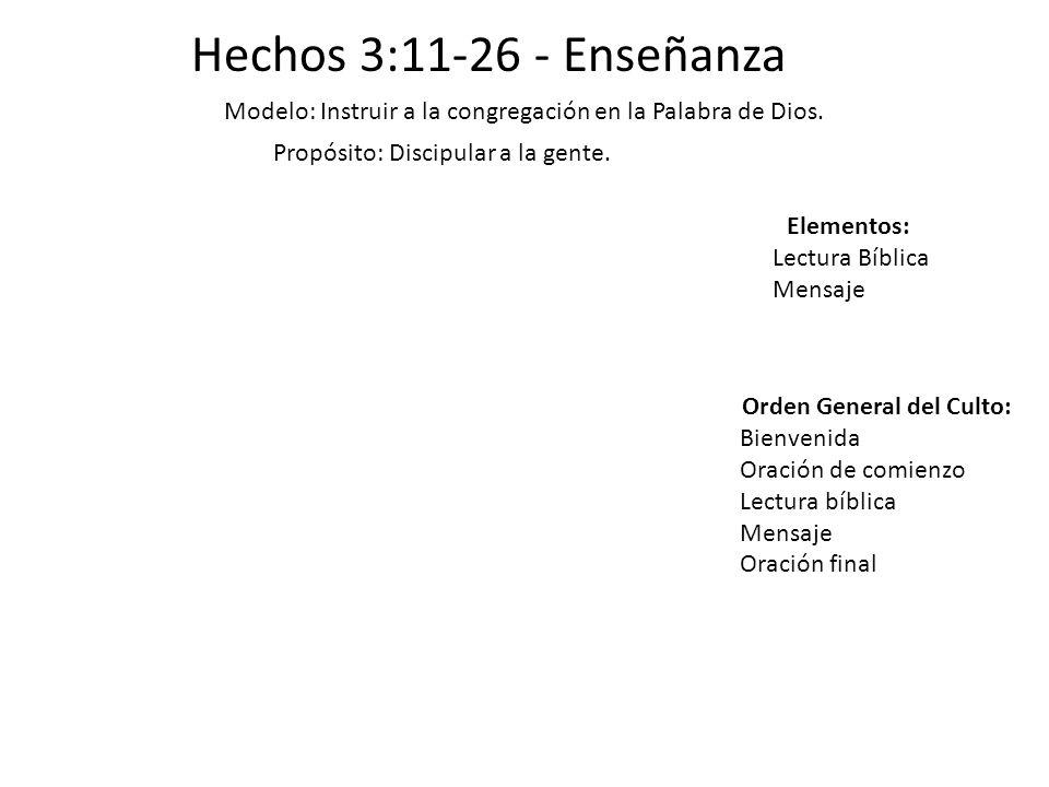 Hechos 3:11-26 - Enseñanza Modelo: Instruir a la congregación en la Palabra de Dios. Propósito: Discipular a la gente. Elementos: Lectura Bíblica Mens