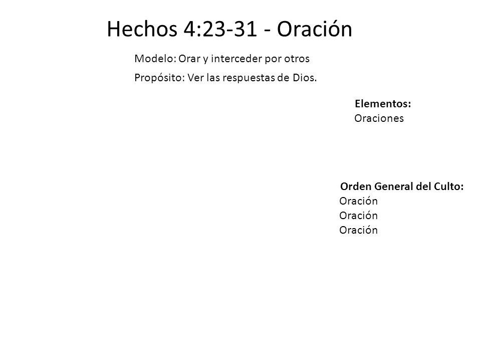 Hechos 4:23-31 - Oración Modelo: Orar y interceder por otros Propósito: Ver las respuestas de Dios. Elementos: Oraciones Orden General del Culto: Orac