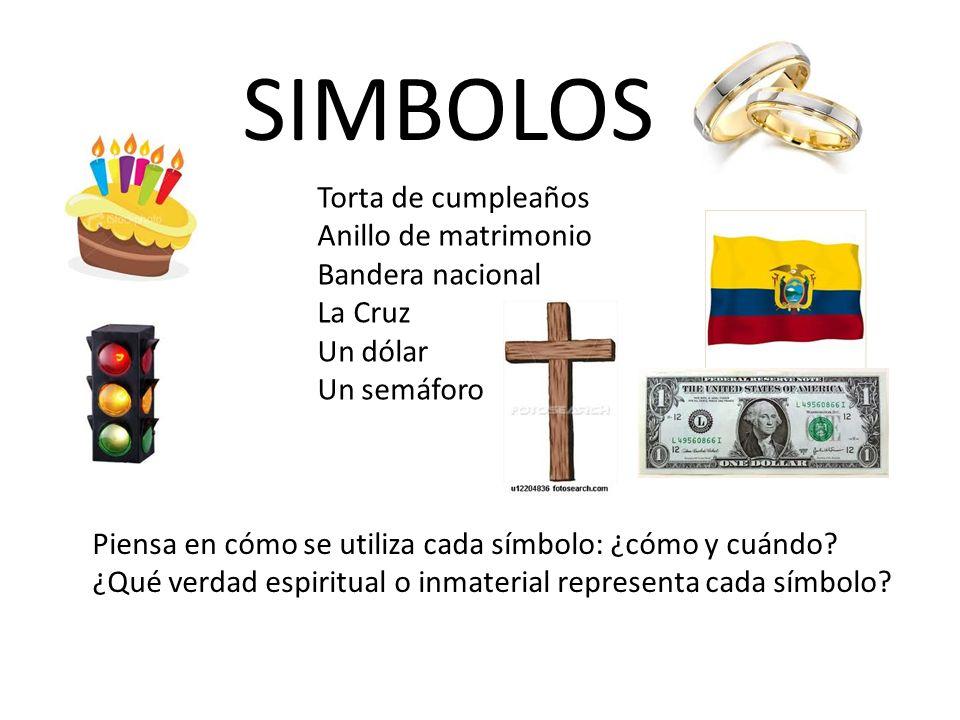 SIMBOLOS Torta de cumpleaños Anillo de matrimonio Bandera nacional La Cruz Un dólar Un semáforo Piensa en cómo se utiliza cada símbolo: ¿cómo y cuándo
