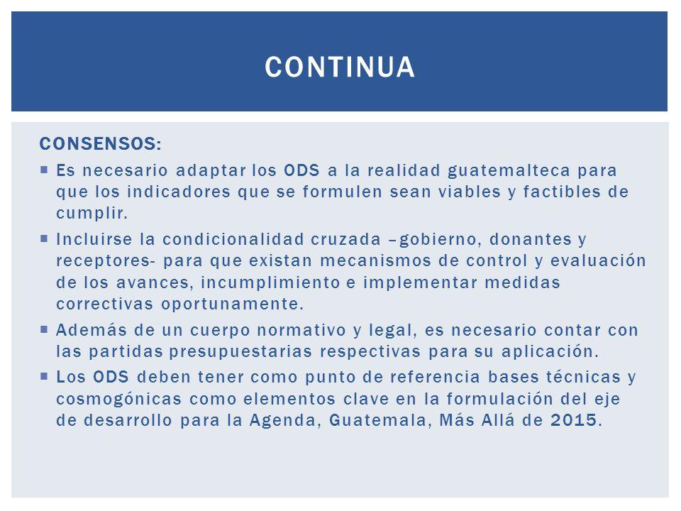 CONSENSOS: Es necesario adaptar los ODS a la realidad guatemalteca para que los indicadores que se formulen sean viables y factibles de cumplir.