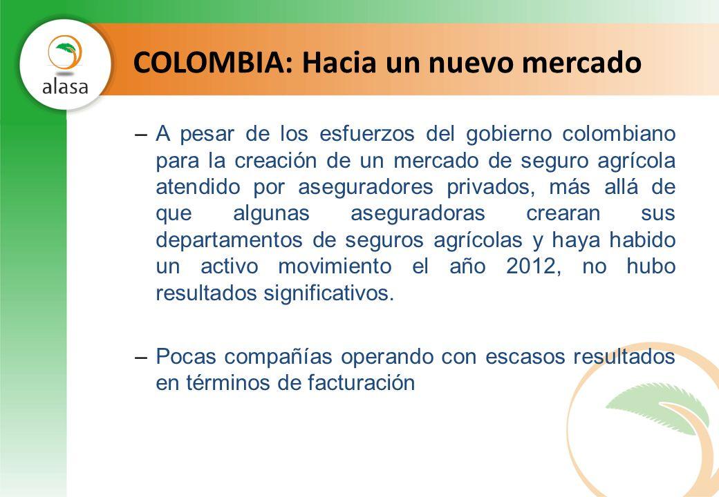 COLOMBIA: Hacia un nuevo mercado –A pesar de los esfuerzos del gobierno colombiano para la creación de un mercado de seguro agrícola atendido por aseg