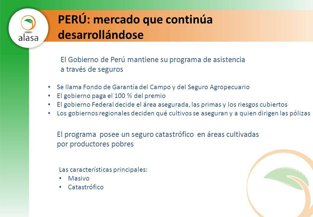 PERÚ: mercado que continúa desarrollándose El programa posee un seguro catastrófico en áreas cultivadas por productores pobres El Gobierno de Perú man