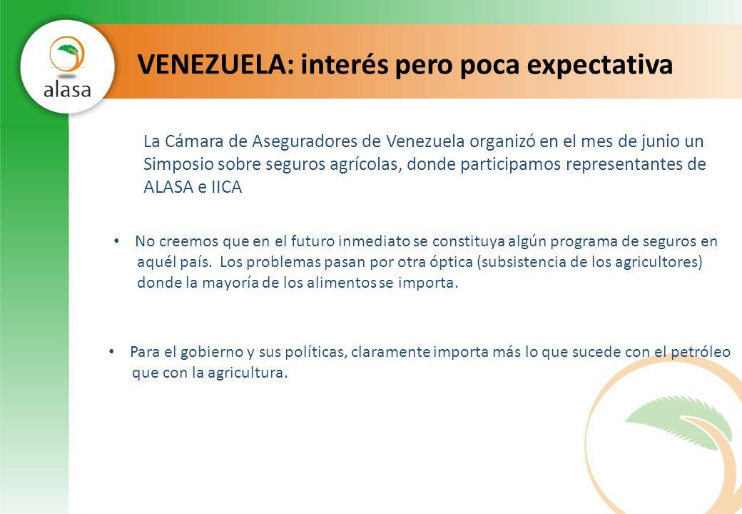 VENEZUELA: interés pero poca expectativa La Cámara de Aseguradores de Venezuela organizó en el mes de junio un Simposio sobre seguros agrícolas, donde