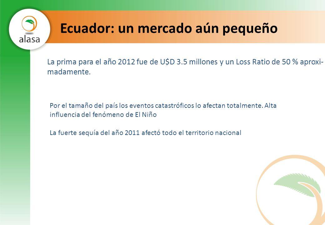 Ecuador: un mercado aún pequeño La prima para el año 2012 fue de U$D 3.5 millones y un Loss Ratio de 50 % aproxi- madamente. Por el tamaño del país lo