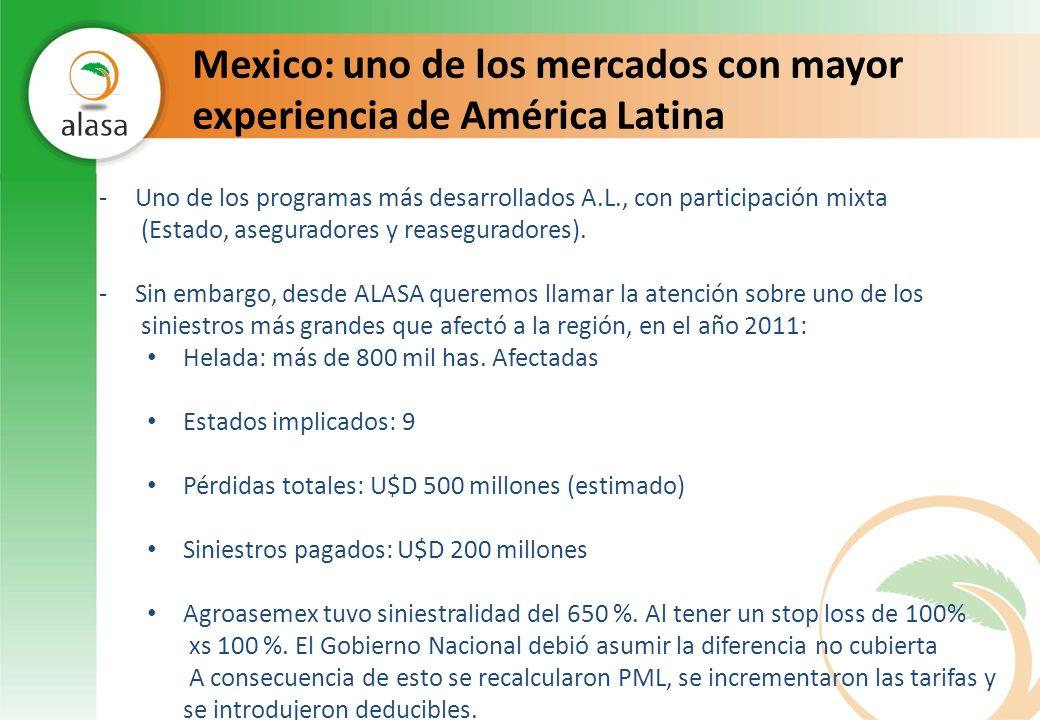 Mexico: uno de los mercados con mayor experiencia de América Latina -Uno de los programas más desarrollados A.L., con participación mixta (Estado, ase