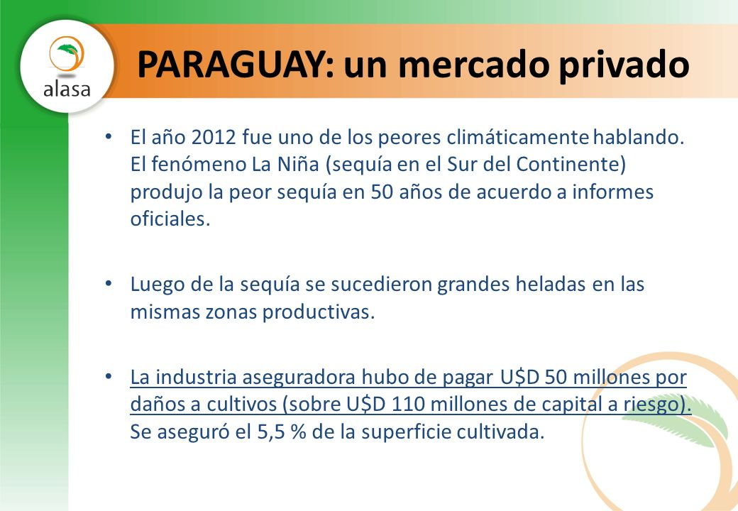 PARAGUAY: un mercado privado El año 2012 fue uno de los peores climáticamente hablando. El fenómeno La Niña (sequía en el Sur del Continente) produjo