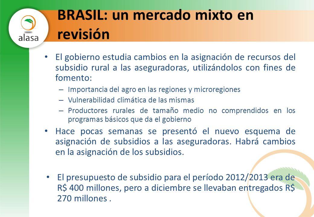 BRASIL: un mercado mixto en revisión El gobierno estudia cambios en la asignación de recursos del subsidio rural a las aseguradoras, utilizándolos con