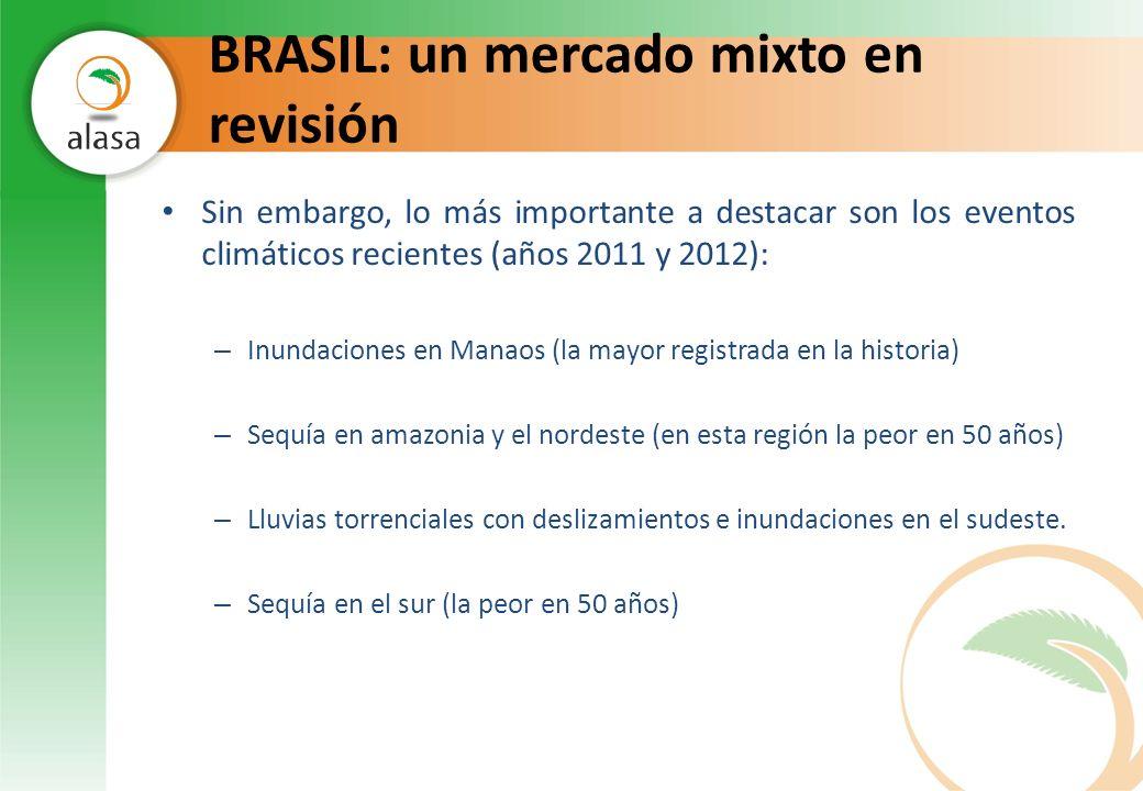 BRASIL: un mercado mixto en revisión Sin embargo, lo más importante a destacar son los eventos climáticos recientes (años 2011 y 2012): – Inundaciones