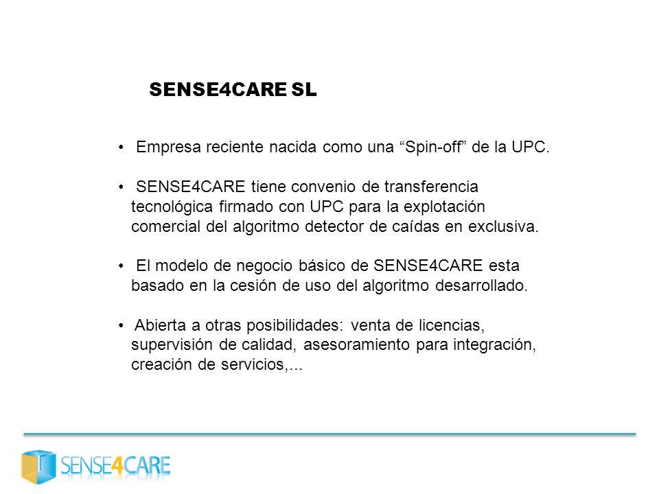 SENSE4CARE SL Empresa reciente nacida como una Spin-off de la UPC. SENSE4CARE tiene convenio de transferencia tecnológica firmado con UPC para la expl