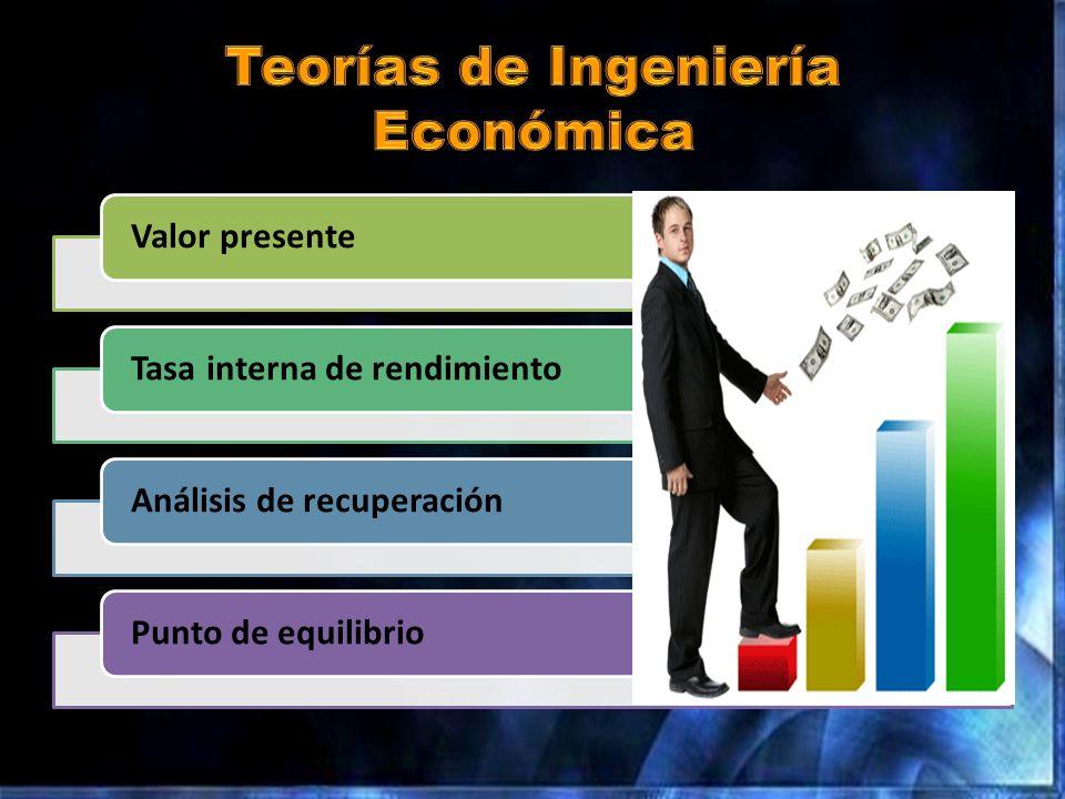 Valor presenteTasa interna de rendimientoAnálisis de recuperaciónPunto de equilibrio