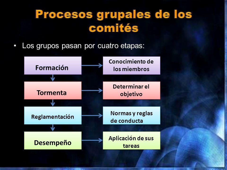 Los grupos pasan por cuatro etapas: Formación Tormenta Reglamentación Desempeño Conocimiento de los miembros Determinar el objetivo Normas y reglas de