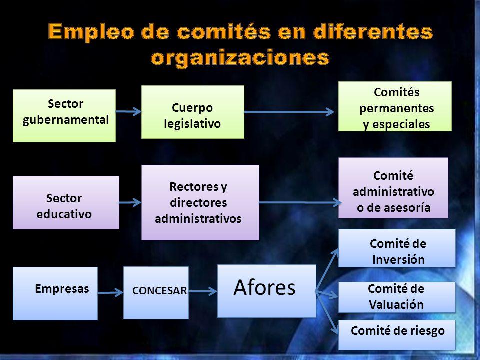Afores Sector gubernamental Cuerpo legislativo Sector educativo Rectores y directores administrativos Comités permanentes y especiales Comité de Inver