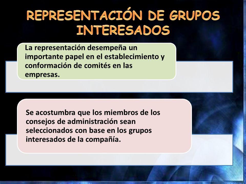 La representación desempeña un importante papel en el establecimiento y conformación de comités en las empresas. Se acostumbra que los miembros de los