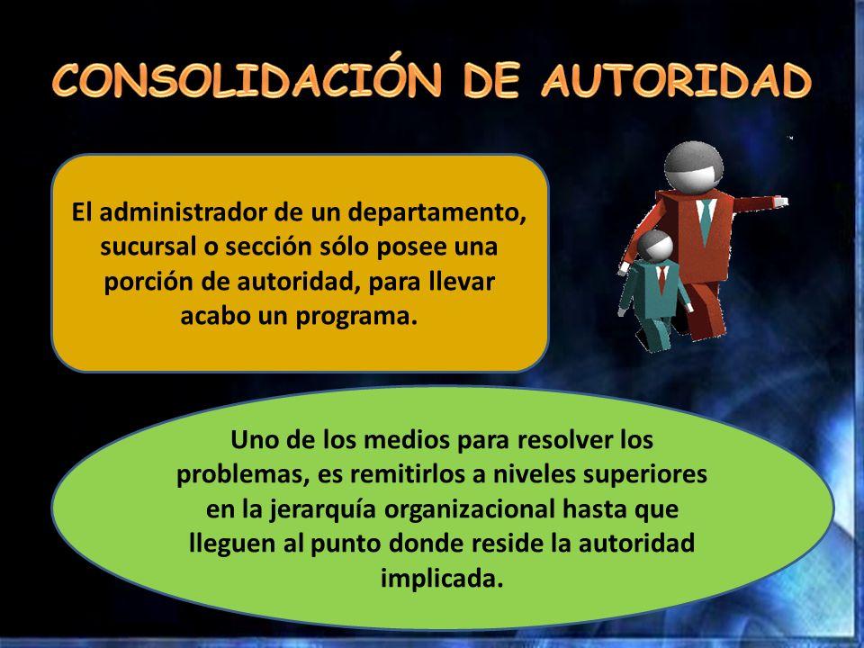 El administrador de un departamento, sucursal o sección sólo posee una porción de autoridad, para llevar acabo un programa. Uno de los medios para res