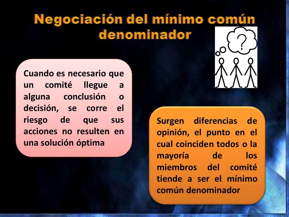 Surgen diferencias de opinión, el punto en el cual coinciden todos o la mayoría de los miembros del comité tiende a ser el mínimo común denominador Cu