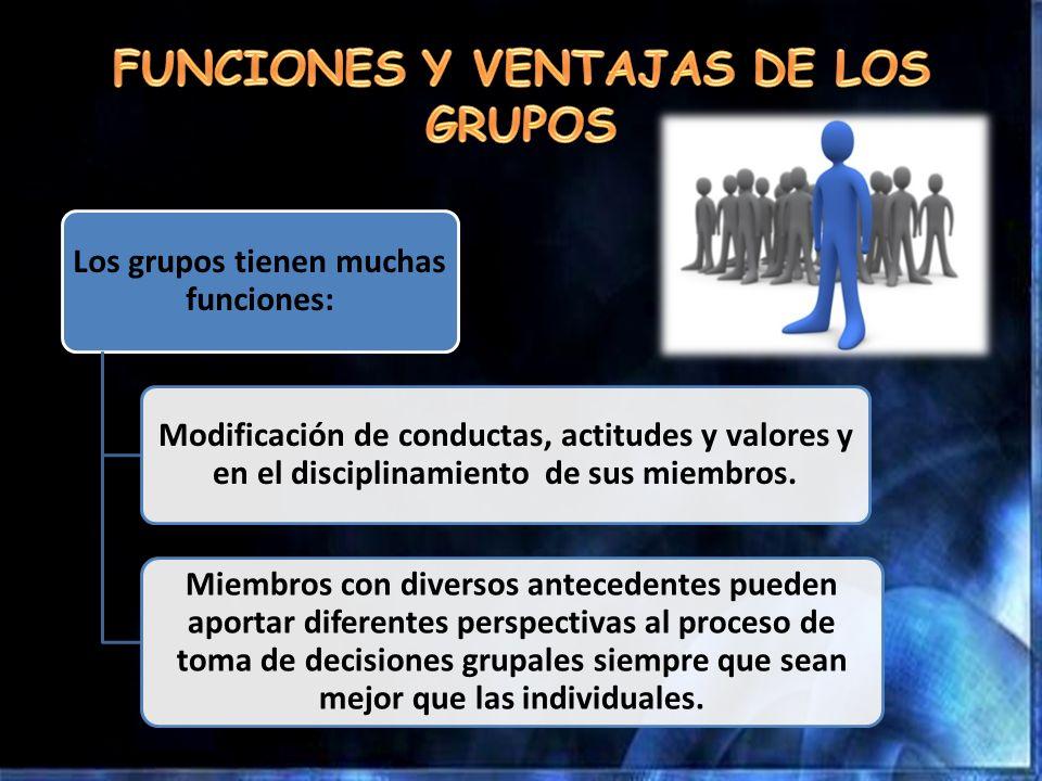 Los grupos tienen muchas funciones: Modificación de conductas, actitudes y valores y en el disciplinamiento de sus miembros. Miembros con diversos ant