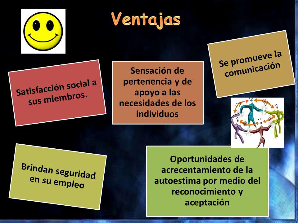 Satisfacción social a sus miembros. Sensación de pertenencia y de apoyo a las necesidades de los individuos Se promueve la comunicación Brindan seguri