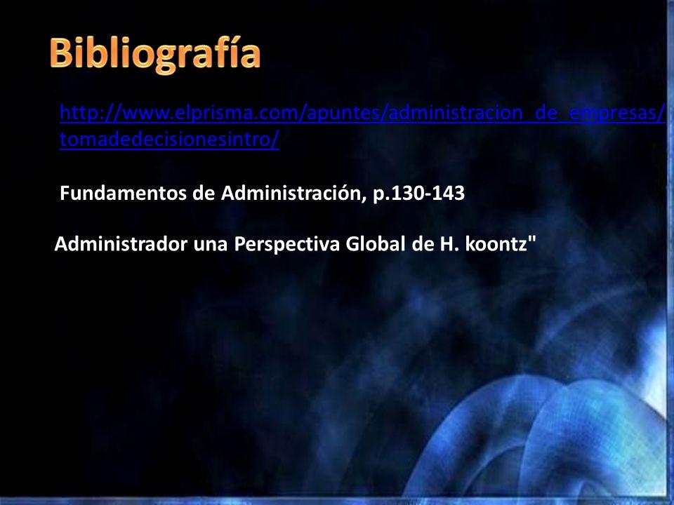 http://www.elprisma.com/apuntes/administracion_de_empresas/ tomadedecisionesintro/ Fundamentos de Administración, p.130-143 Administrador una Perspect