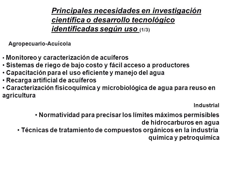 Principales necesidades en investigación científica o desarrollo tecnológico identificadas según uso (1/3) Agropecuario-Acuícola Industrial Monitoreo