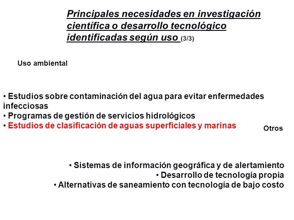 Uso ambiental Otros Estudios sobre contaminación del agua para evitar enfermedades infecciosas Programas de gestión de servicios hidrológicos Estudios
