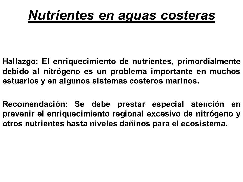 Nutrientes en aguas costeras Hallazgo: El enriquecimiento de nutrientes, primordialmente debido al nitrógeno es un problema importante en muchos estua