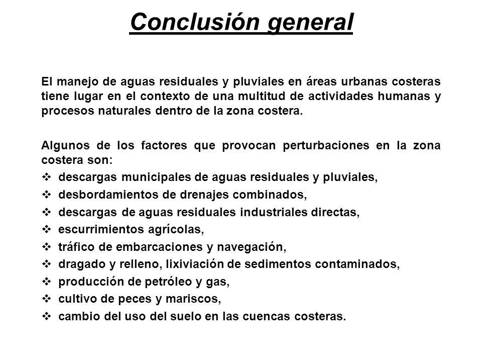 Conclusión general El manejo de aguas residuales y pluviales en áreas urbanas costeras tiene lugar en el contexto de una multitud de actividades human