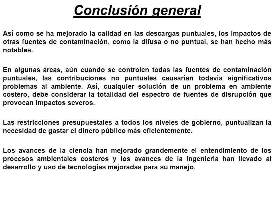 Conclusión general Así como se ha mejorado la calidad en las descargas puntuales, los impactos de otras fuentes de contaminación, como la difusa o no
