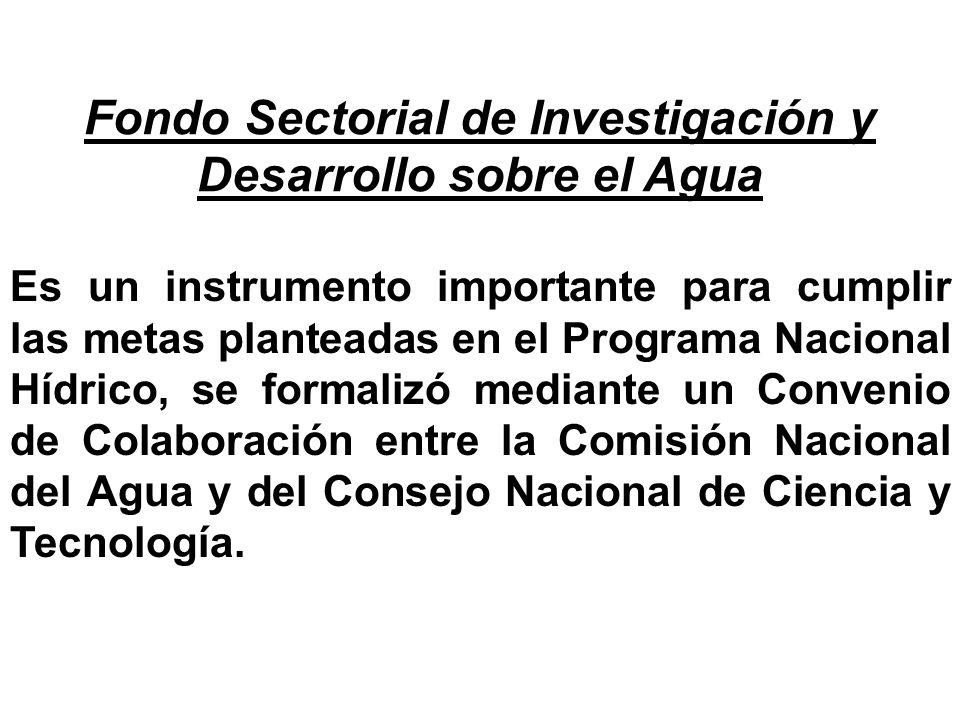 Fondo Sectorial de Investigación y Desarrollo sobre el Agua, CNA- Conacyt Cuenta con una inversión de 83 millones de pesos: investigación, desarrollo tecnológico y formación de recursos humanos calificados para el Sector.