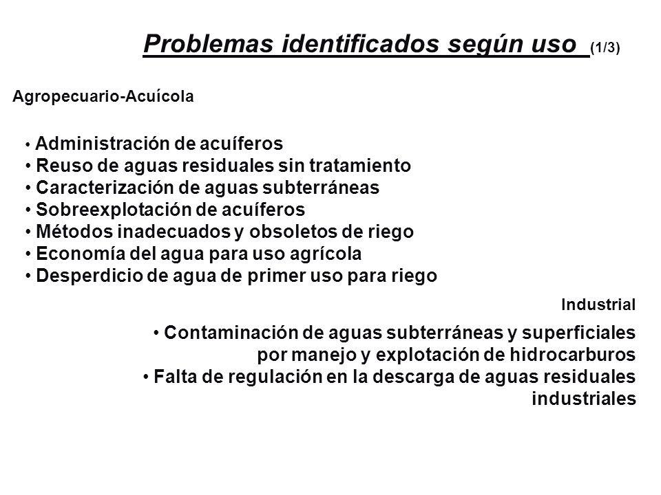 Problemas identificados según uso (1/3) Agropecuario-Acuícola Administración de acuíferos Reuso de aguas residuales sin tratamiento Caracterización de