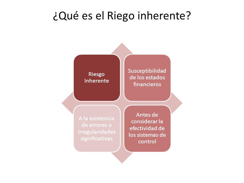 ¿Qué es el Riego inherente? Riesgo Inherente Susceptibilidad de los estados financieros A la existencia de errores o irregularidades significativas An