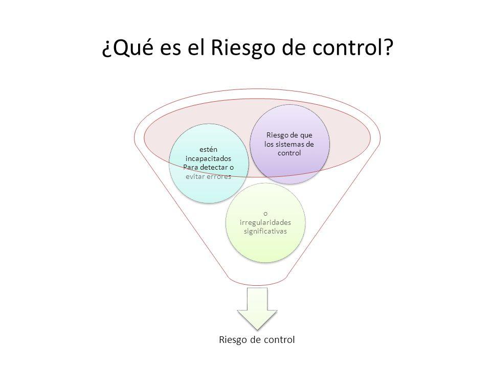¿Qué es el Riesgo de control? Riesgo de control o irregularidades significativas estén incapacitados Para detectar o evitar errores Riesgo de que los