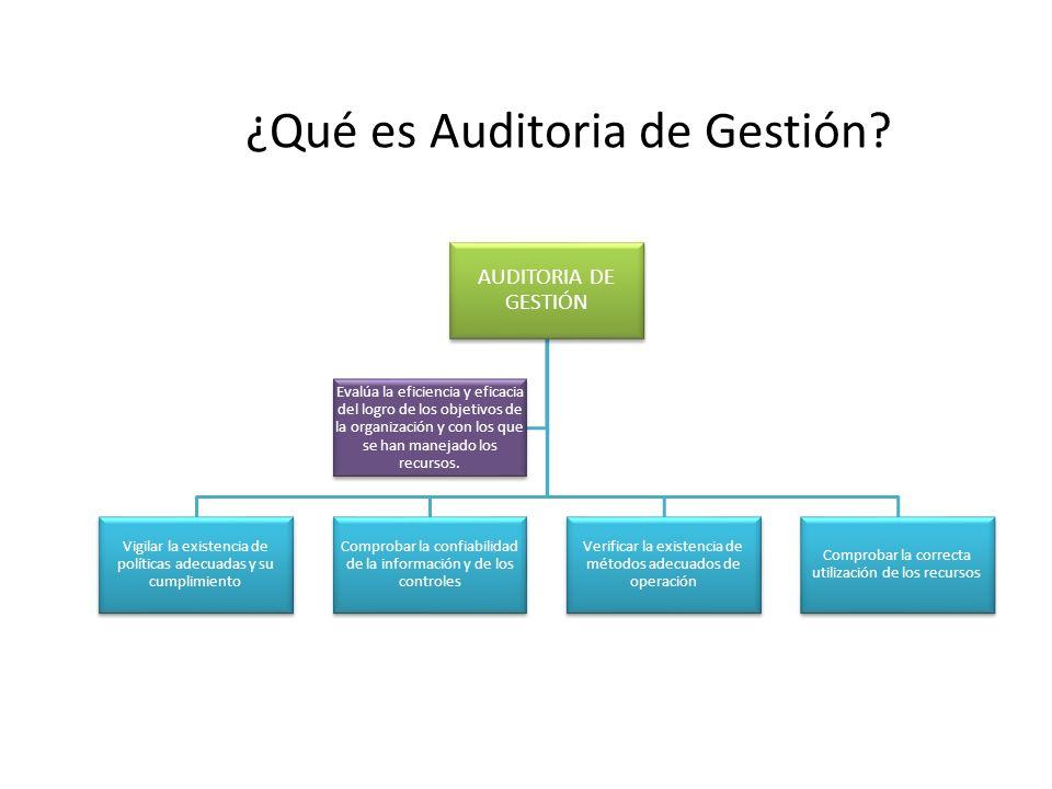 ¿Qué es Auditoria de Gestión? AUDITORIA DE GESTIÓN Vigilar la existencia de políticas adecuadas y su cumplimiento Comprobar la confiabilidad de la inf
