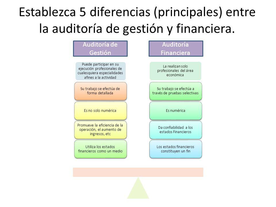 Establezca 5 diferencias (principales) entre la auditoría de gestión y financiera. Puede participar en su ejecución profesionales de cualesquiera espe
